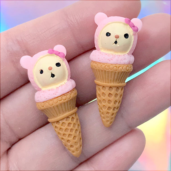 Miniature Ice Cream Cabochon | Kawaii Sweet Jewelry DIY | Dollhouse Food Craft | Decoden Supplies (2 pcs / 14mm x 35mm)