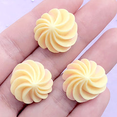 Kawaii Deco Whip Cream Decoden Cabochons | Faux Icing Embellishments | Fake Food Jewelry Supplies (3 pcs / Yellow / 20mm x 13mm)