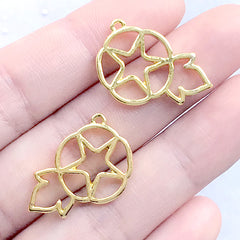 Cotton Flower Open Bezel Charm | Floral Deco Frame for UV Resin Filling | Resin Jewellery Making (2 pcs / Gold / 16mm x 23mm)