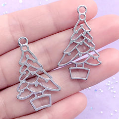 Christmas Tree Open Back Bezel Charm | Christmas Deco Frame | Holiday UV Resin Jewelry Supplies (2 pcs / Silver / 21mm x 36mm)