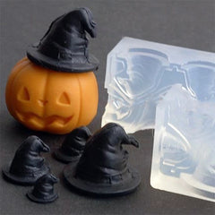 3D Witch Hat Silicone Mold (4 Cavity) | Pointed Hat Mold for Halloween Craft | Soft Clear Mould for UV Resin Art