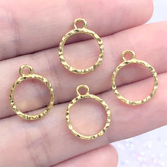Mini Circle Deco Frame with Wavy Border | Small Geometric Open Bezel for UV Resin Filling | Kawaii Jewellery Supplies (4 pcs / Gold / 12mm x 15mm)