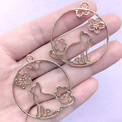 Kitty and Sakura Circle Open Bezel Charm | Flower and Animal Deco Frame for UV Resin Filling (2 pcs / Gold / 36mm x 41mm)