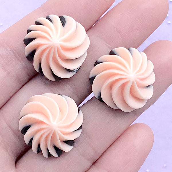 Whipped Cream Cabochons | Faux Sweet Deco | Decoden Phone Case | Kawaii Embellishments (3 pcs / Pink / 20mm x 13mm)