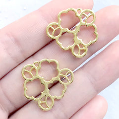 Plum Flower Open Bezel | Plum Blossom Charm | Prunus Mume Pendant | Floral Deco Frame for UV Resin Filling (2 pcs / Gold / 23mm x 21mm)