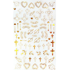 Cross and Heart Nail Art Sticker | Gold Foil Stickers | Religion Embellishments | Resin Craft Supplies