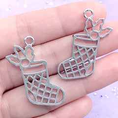 CLEARANCE Christmas Stockings Open Back Bezel Charm | Christmas Socks Deco Frame | UV Resin Craft Supplies (2 pcs / Silver / 26mm x 34mm)