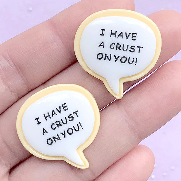 I Have A Crust On You Sugar Cookie Cabochons | Miniature Food Embellishments | Kawaii Sweets Decoden (2 pcs / 25mm x 26mm)