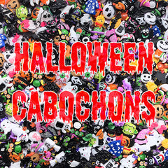 Halloween Decoden Cabochon Assortment | Kawaii Goth Decoden Pieces | Creepy Cute Embellishments (10 pieces by Random)