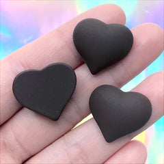 Faux Heart Chocolate Cabochons | Fake Candy Embellishments | Valentine's Day Decoration | Resin Decoden Piece (3 pcs / 21mm x 19mm)