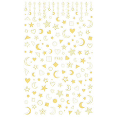 Moon Star Heart Geometry Nail Art Stickers | Gold Foiled Sticker | Magical Girl Embellishments for Resin Craft