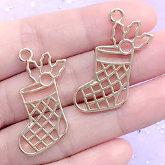 CLEARANCE Christmas Socks Open Backed Bezel Pendant | Christmas Stockings Deco Frame | UV Resin Crafts (2 pcs / Gold / 26mm x 34mm)