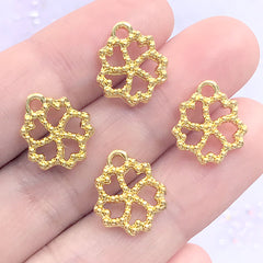 Tiny Cherry Blossom Open Bezel for UV Resin Filling | Small Sakura Deco Frame with Beaded Border | Kawaii Crafts (4 pcs / Gold / 12mm x 14mm)