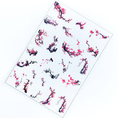 Plum Blossom Chinese Painting Clear Film Sheet | Floral Embellishments | Flower Resin Inclusions | Resin Jewelry Making