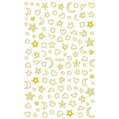 Gold Foiled Star Moon Heart Stickers | Gold Foil Embellishments for Resin Art | Kawaii Nail Deco