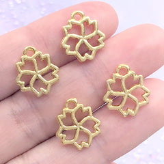 Mini Sakura Open Bezel for UV Resin Filling | Small Cherry Blossom Deco Frame | Kawaii Craft Supplies (4 pcs / Gold / 12mm x 14mm)