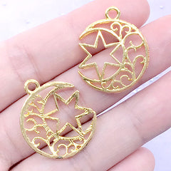 DEFECT Filigree Moon and Hexagram Open Bezel Pendant | Magical Girl Deco Frame for UV Resin Filling (2 pcs / Gold / 21mm x 25mm)
