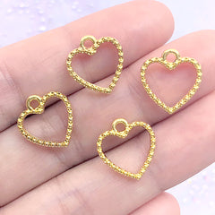 Mini Heart Open Bezel Charm with Beaded Border | Small Deco Frame for UV Resin Filling | Resin Jewellery Supplies (4 pcs / Gold / 13mm x 14mm)