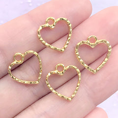 Tiny Heart Open Bezel Charm with Wavy Border | Mini Deco Frame for for UV Resin Filling | Resin Jewelry DIY (4 pcs / Gold / 13mm x 14mm)