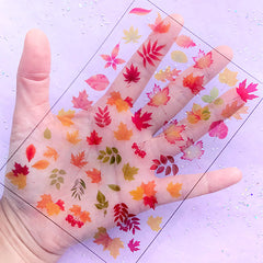 Fall Maple Leaf Clear Film Sheet | Autumn Leaves Embellishments | Floral Resin Fillers | Resin Jewellery Making