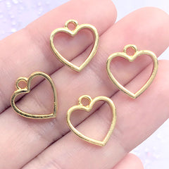 Mini Heart Deco Frame for UV Resin Filling | Kawaii Open Bezel Charm | Resin Jewelry Supplies (4 pcs / Gold / 13mm x 14mm)