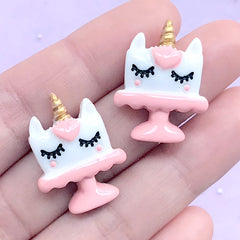 Unicorn Cake Cabochons | Cute Embellishments | Kawaii Decoden Supplies | Hair Bow Center (2 pcs / Pink / 20mm x 25mm)