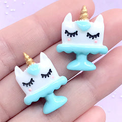 Kawaii Unicorn Cake Decoden Cabochons | Hair Bow Centers | Sweet Deco | Phone Case Decoration (2 pcs / Light Blue / 20mm x 25mm)
