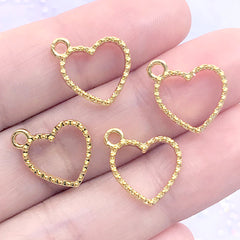Small Beaded Heart Open Bezel for UV Resin Filling | Tiny Deco Frame for Resin Jewellery Making (4 pcs / Gold / 13mm x 14mm)