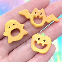 Assorted Halloween Cookie Cabochons | Fake Biscuit Embellishments | Kawaii Decoden Resin Flatbacks (3 pcs)