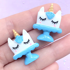 Unicorn Cake Resin Cabochons | Kawaii Sweet Deco | Phone Case Decoden | Cute Hair Bow Center (2 pcs / Blue / 22mm x 28mm)