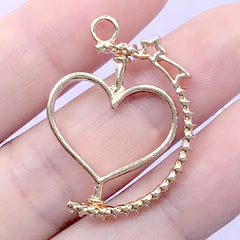 Spinning Heart Open Bezel Charm with Shooting Star | Rotary Deco Frame for UV Resin Filling | Turnable Pendant (1 piece / Gold / 23mm x 31mm)
