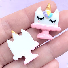 Rainbow Unicorn Cake Embellishments | Kawaii Cabochons | Sweets Decoden Supplies | Cute Resin Flatback (2 pcs / Pink / 22mm x 28mm)