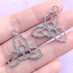 Christmas Holly Leaves Open Bezel Charm | Holly Leaf Deco Frame for UV Resin Filling | Christmas Jewelry Making (2 pcs / Silver / 29mm x 28mm)
