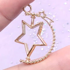 Turnable Star Open Bezel with Shooting Star | Rotary Charm | Kawaii Deco Frame for UV Resin Filling (1 piece / Gold / 24mm x 31mm)