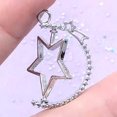 Movable Star Open Bezel Charm with Shooting Star | Spinning Pendant | Magical Deco Frame for UV Resin Filling (1 piece / Silver / 24mm x 31mm)