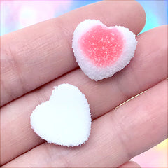 Fake Sugar Candy Cabochons | Faux Heart Shaped Gummy Candies | Decoden Sweets | Kawaii Jewellery Supplies (4 pcs / Red / 17mm x 16mm)