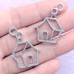 Christmas House Open Bezel Charm | Cute Deco Frame for UV Resin Filling | Resin Jewellery Making (2 pcs / Silver / 23mm x 31mm)