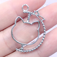 Spinning Open Bezel Charm with Kitty Head and Shooting Star | Movable Animal Deco Frame | Kawaii Jewelry Making (1 piece / Silver / 23mm x 31mm)