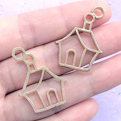 House with Chimney Open Bezel Pendant | Christmas House Deco Frame for UV Resin Filling (2 pcs / Gold / 23mm x 31mm)