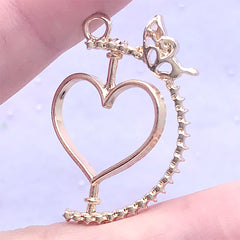 Kawaii Rotary Open Bezel Charm with Butterfly | Spinning Heart Deco Frame for UV Resin Filling | Kawaii Jewellery Supplies (1 piece / Gold / 23mm x 33mm)