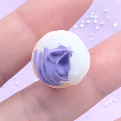 Dollhouse Ice Cream Cabochon | Miniature Taro Lavender Ice Cream | 3D Sweet Deco | Fake Dessert Jewellery DIY (1 piece / Purple / 17mm x 42mm)