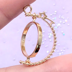 Round Rotating Open Bezel Charm with Shooting Star | Turnable Deco Frame for UV Resin Filling | Kawaii Jewelry Supplies (1 piece / Gold / 23mm x 31mm)