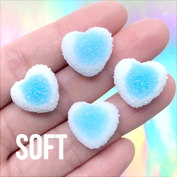 Faux Gummy Candy Cabochons | Fake Heart Shaped Sugar Candies | Decoden Phone Case DIY | Kawaii Jewelry Supplies (4 pcs / Blue / 17mm x 16mm)