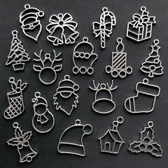 Assorted Christmas Open Bezel Charm | Holiday Deco Frame for UV Resin Filling | Kawaii Resin Jewelry Supplies (18 pcs / Silver)