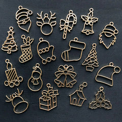 Christmas Open Bezel Charm Assortment | Kawaii Deco Frame for UV Resin Jewellery DIY | Holiday Pendant (18 pcs / Gold)