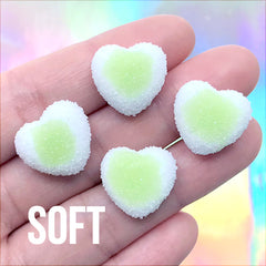 Sugar Heart Candy Cabochon | Fake Gummy Candies | Faux Food Jewellery Making | Kawaii Decoden Pieces (4 pcs / Green / 17mm x 16mm)