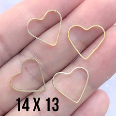Hollow Heart Deco Frame for UV Resin Jewelry Making | Heart Open Back Frame | Wedding Supplies (4 pcs / Gold / 14mm x 13mm)