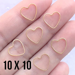 Small Heart Frame for UV Resin Jewellery Making | Hollow Heart Deco Frame for Resin Filling (6 pcs / Gold / 10mm x 10mm)