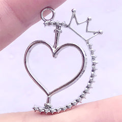 Rotating Heart Open Bezel Pendant with Crown | Spinning Deco Frame | Kawaii UV Resin Jewelry Making (1 piece / Silver / 24mm x 33mm)