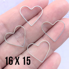 Heart Open Frame for UV Resin Filling | Heart Deco Frame | Wedding Jewelry Supplies (4 pcs / Silver / 16mm x 15mm)